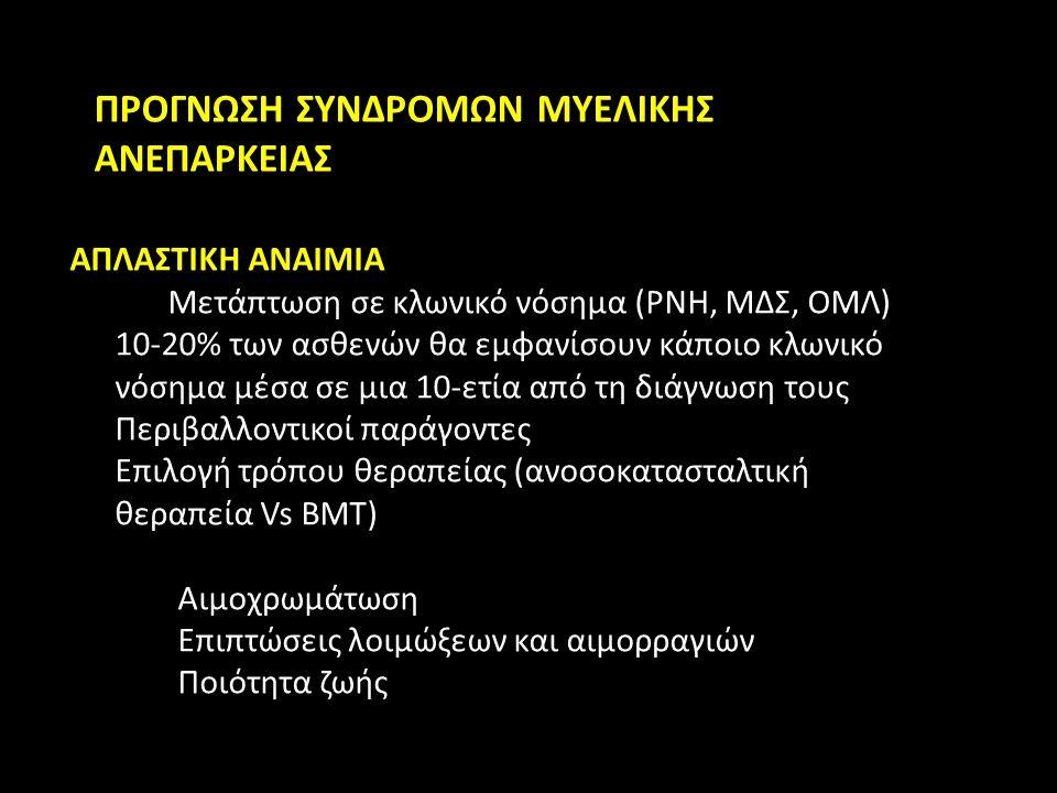 ΠΡΟΓΝΩΣΗ ΣΥΝΔΡΟΜΩΝ ΜΥΕΛΙΚΗΣ ΑΝΕΠΑΡΚΕΙΑΣ ΑΠΛΑΣΤΙΚΗ ΑΝΑΙΜΙΑ Μετάπτωση σε κλωνικό νόσημα (PNH, ΜΔΣ, ΟΜΛ) 10-20% των ασθενών θα εμφανίσουν κάποιο κλωνικό νόσημα μέσα σε μια 10-ετία από τη διάγνωση τους Περιβαλλοντικοί παράγοντες Επιλογή τρόπου θεραπείας (ανοσοκατασταλτική θεραπεία Vs BMT) Αιμοχρωμάτωση Επιπτώσεις λοιμώξεων και αιμορραγιών Ποιότητα ζωής