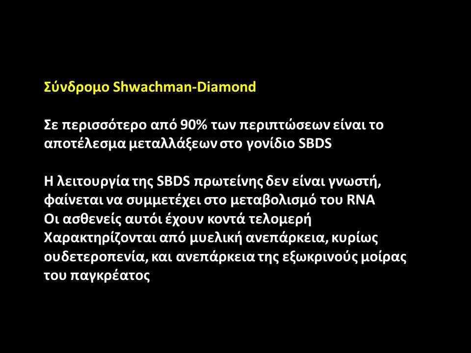 Σύνδρομο Shwachman-Diamond Σε περισσότερο από 90% των περιπτώσεων είναι το αποτέλεσμα μεταλλάξεων στο γονίδιο SBDS Η λειτουργία της SBDS πρωτείνης δεν είναι γνωστή, φαίνεται να συμμετέχει στο μεταβολισμό του RNA Οι ασθενείς αυτόι έχουν κοντά τελομερή Χαρακτηρίζονται από μυελική ανεπάρκεια, κυρίως ουδετεροπενία, και ανεπάρκεια της εξωκρινούς μοίρας του παγκρέατος