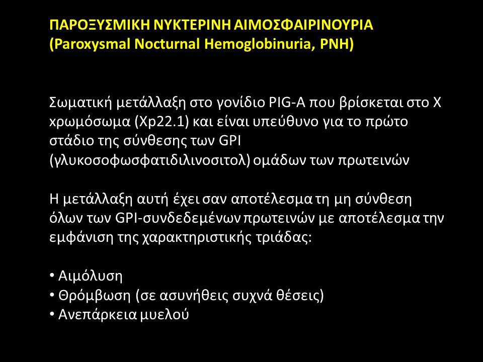 ΠΑΡΟΞΥΣΜΙΚΗ ΝΥΚΤΕΡΙΝΗ ΑΙΜΟΣΦΑΙΡΙΝΟΥΡΙΑ (Paroxysmal Nocturnal Hemoglobinuria, PNH) Σωματική μετάλλαξη στο γονίδιο PIG-A που βρίσκεται στο Χ xρωμόσωμα (Χp22.1) και είναι υπεύθυνο για το πρώτο στάδιο της σύνθεσης των GPI (γλυκοσοφωσφατιδιλινοσιτολ) ομάδων των πρωτεινών Η μετάλλαξη αυτή έχει σαν αποτέλεσμα τη μη σύνθεση όλων των GPI-συνδεδεμένων πρωτεινών με αποτέλεσμα την εμφάνιση της χαρακτηριστικής τριάδας: Αιμόλυση Θρόμβωση (σε ασυνήθεις συχνά θέσεις) Ανεπάρκεια μυελού