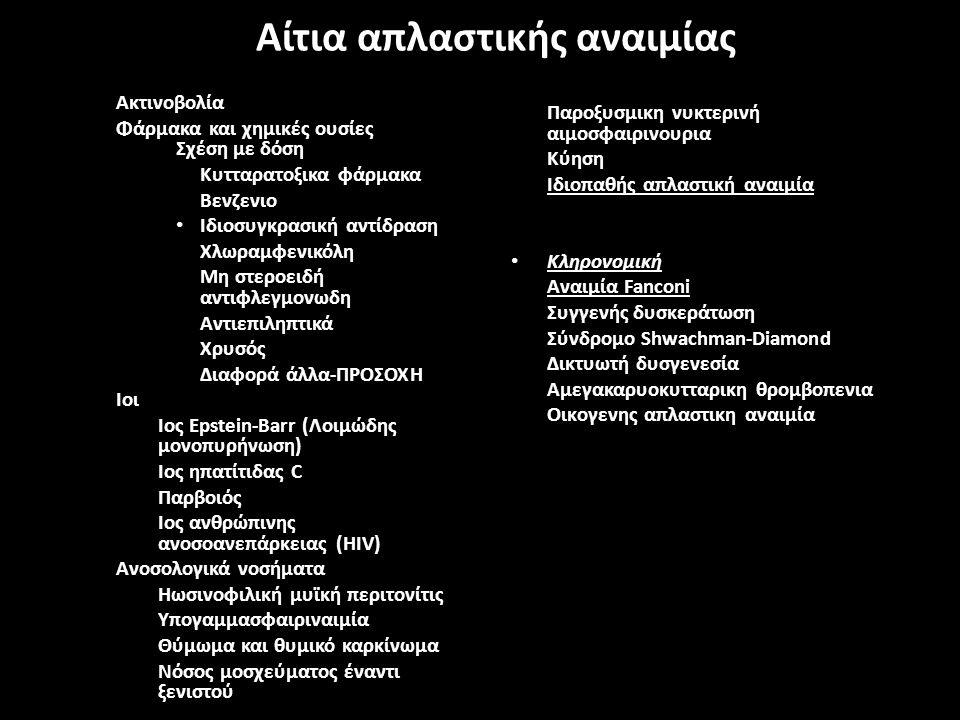 Αίτια απλαστικής αναιμίας Ακτινοβολία Φάρμακα και χημικές ουσίες Σχέση με δόση Κυτταρατοξικα φάρμακα Βενζενιο Ιδιοσυγκρασική αντίδραση Χλωραμφενικόλη Μη στεροειδή αντιφλεγμονωδη Αντιεπιληπτικά Χρυσός Διαφορά άλλα-ΠΡΟΣΟΧΗ Ιοι – Ιος Epstein-Barr (Λοιμώδης μονοπυρήνωση) – Ιος ηπατίτιδας C – Παρβοιός – Ιος ανθρώπινης ανοσοανεπάρκειας (HIV) Ανοσολογικά νοσήματα – Ηωσινοφιλική μυϊκή περιτονίτις – Υπογαμμασφαιριναιμία – Θύμωμα και θυμικό καρκίνωμα – Νόσος μοσχεύματος έναντι ξενιστού Παροξυσμικη νυκτερινή αιμοσφαιρινουρια Κύηση Ιδιοπαθής απλαστική αναιμία Κληρονομική Αναιμία Fanconi Συγγενής δυσκεράτωση Σύνδρομο Shwachman-Diamond Δικτυωτή δυσγενεσία Αμεγακαρυοκυτταρικη θρομβοπενια Οικoγενης απλαστικη αναιμία