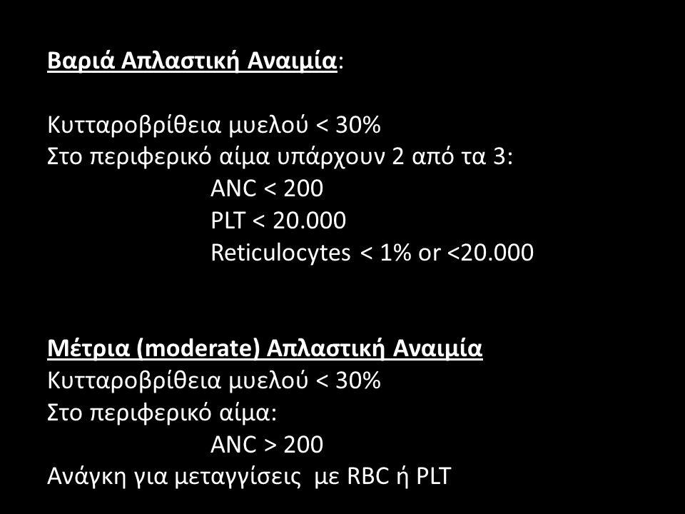 Bαριά Απλαστική Αναιμία: Κυτταροβρίθεια μυελού < 30% Στο περιφερικό αίμα υπάρχουν 2 από τα 3: ANC < 200 PLT < 20.000 Reticulocytes < 1% or <20.000 Mέτ