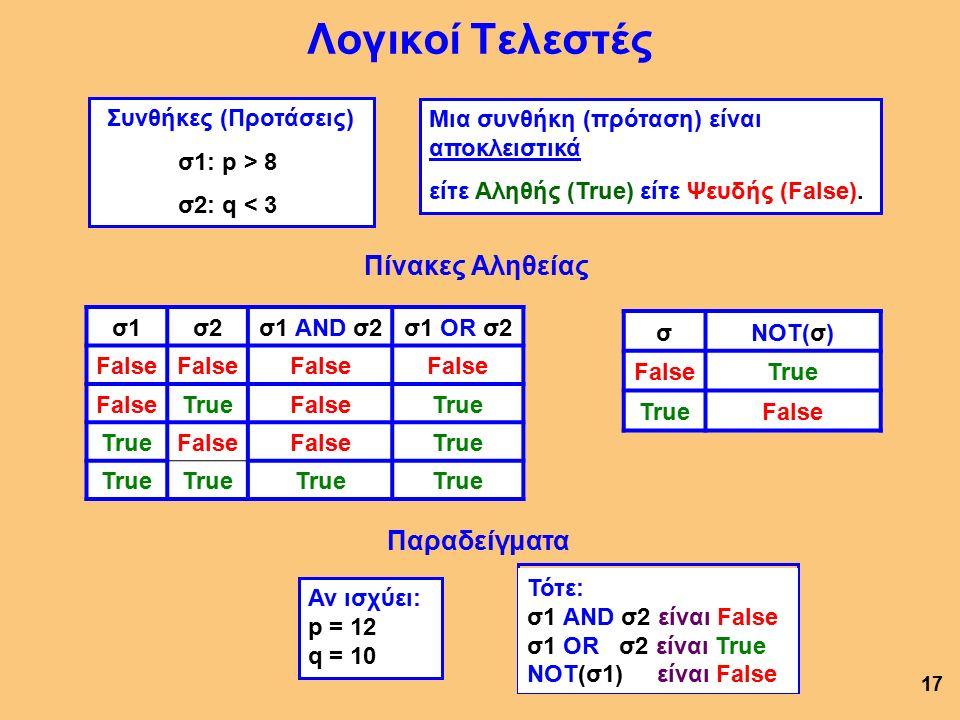 Λογικοί Τελεστές Πίνακες Αληθείας σ1σ2σ1 AND σ2σ1 OR σ2 False TrueFalseTrue False True 17 σNOT(σ) FalseTrue False Συνθήκες (Προτάσεις) σ1: p > 8 σ2: q < 3 Αν ισχύει: p = 12 q = 10 Μια συνθήκη (πρόταση) είναι αποκλειστικά είτε Αληθής (True) είτε Ψευδής (False).