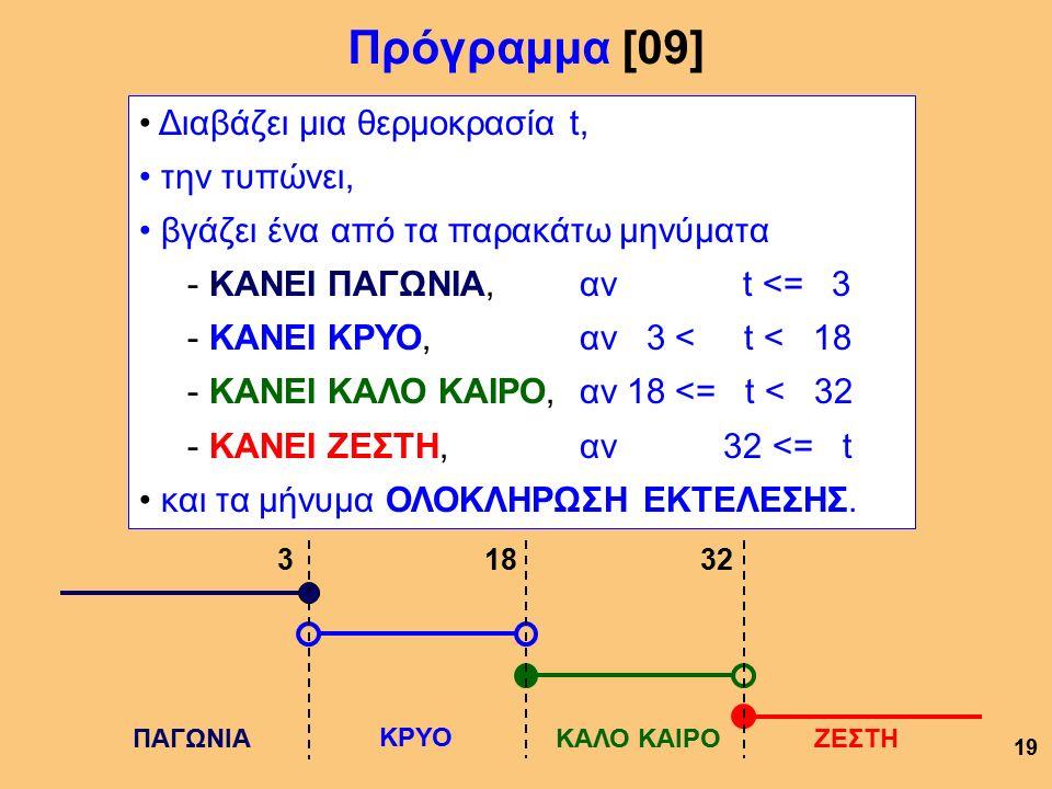 Πρόγραμμα [09] 19 Διαβάζει μια θερμοκρασία t, την τυπώνει, βγάζει ένα από τα παρακάτω μηνύματα - ΚΑΝΕΙ ΠΑΓΩΝΙΑ, αν t <= 3 - ΚΑΝΕΙ ΚΡΥΟ, αν 3 < t < 18 - ΚΑΝΕΙ ΚΑΛΟ ΚΑΙΡΟ, αν 18 <= t < 32 - ΚΑΝΕΙ ΖΕΣΤΗ, αν 32 <= t και τα μήνυμα ΟΛΟΚΛΗΡΩΣΗ ΕΚΤΕΛΕΣΗΣ.