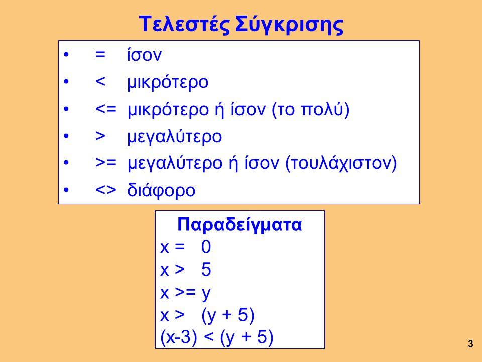 Τελεστές Σύγκρισης = ίσον < μικρότερο <= μικρότερο ή ίσον (το πολύ) > μεγαλύτερο >= μεγαλύτερο ή ίσον (τουλάχιστον) <> διάφορο 3 Παραδείγματα x = 0 x > 5 x >= y x > (y + 5) (x-3) < (y + 5)