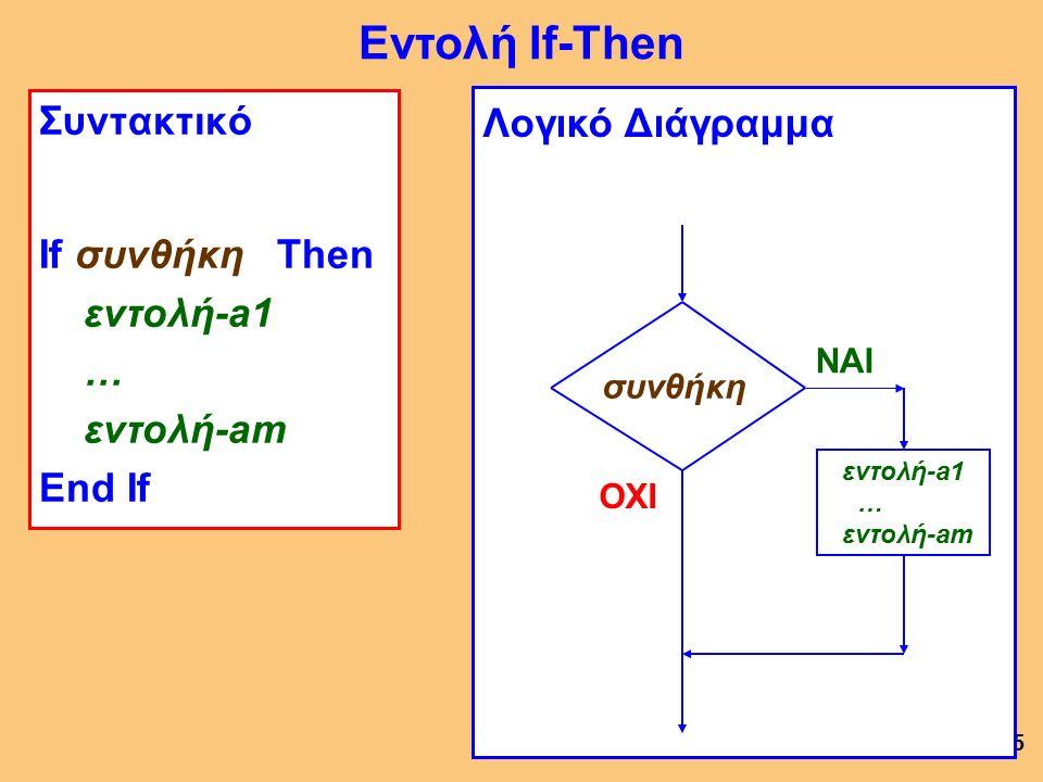 5 Συντακτικό If συνθήκη Then εντολή-a1 … εντολή-am End If Εντολή If-Then συνθήκη εντολή-a1 … εντολή-am ΝΑΙ ΟΧΙ Λογικό Διάγραμμα συνθήκη εντολή-a1 … εντολή-am ΝΑΙ ΟΧΙ Λογικό Διάγραμμα