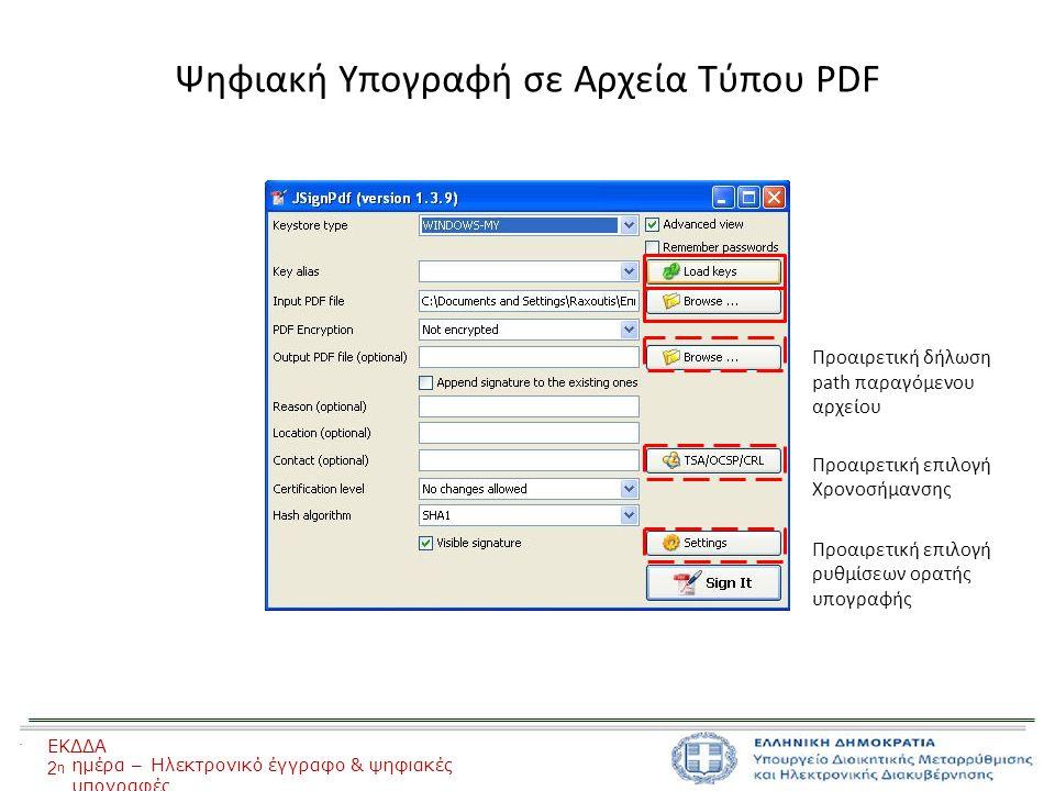 Ψηφιακή Υπογραφή σε Αρχεία Τύπου PDF Προαιρετική δήλωση path παραγόμενου αρχείου Προαιρετική επιλογή Χρονοσήμανσης Προαιρετική επιλογή ρυθμίσεων ορατής υπογραφής ΕΚΔΔΑ 2η2η ημέρα – Ηλεκτρονικό έγγραφο & ψηφιακές υπογραφές