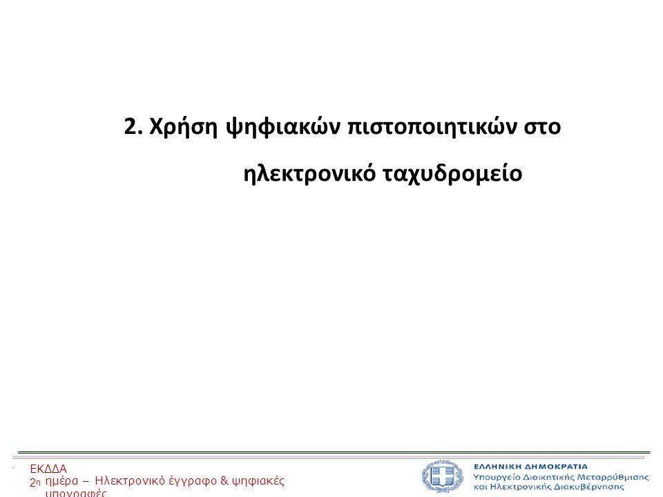 2. Χρήση ψηφιακών πιστοποιητικών στο ηλεκτρονικό ταχυδρομείο ΕΚΔΔΑ 2η2η ημέρα – Ηλεκτρονικό έγγραφο & ψηφιακές υπογραφές