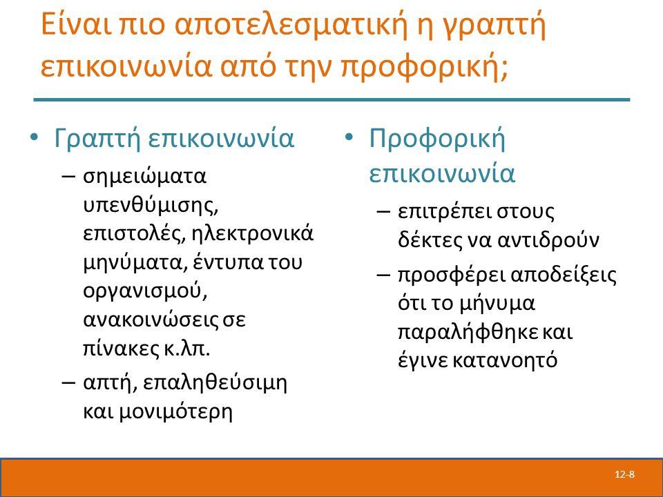 12-8 Είναι πιο αποτελεσματική η γραπτή επικοινωνία από την προφορική; Γραπτή επικοινωνία – σημειώματα υπενθύμισης, επιστολές, ηλεκτρονικά μηνύματα, έντυπα του οργανισμού, ανακοινώσεις σε πίνακες κ.λπ.