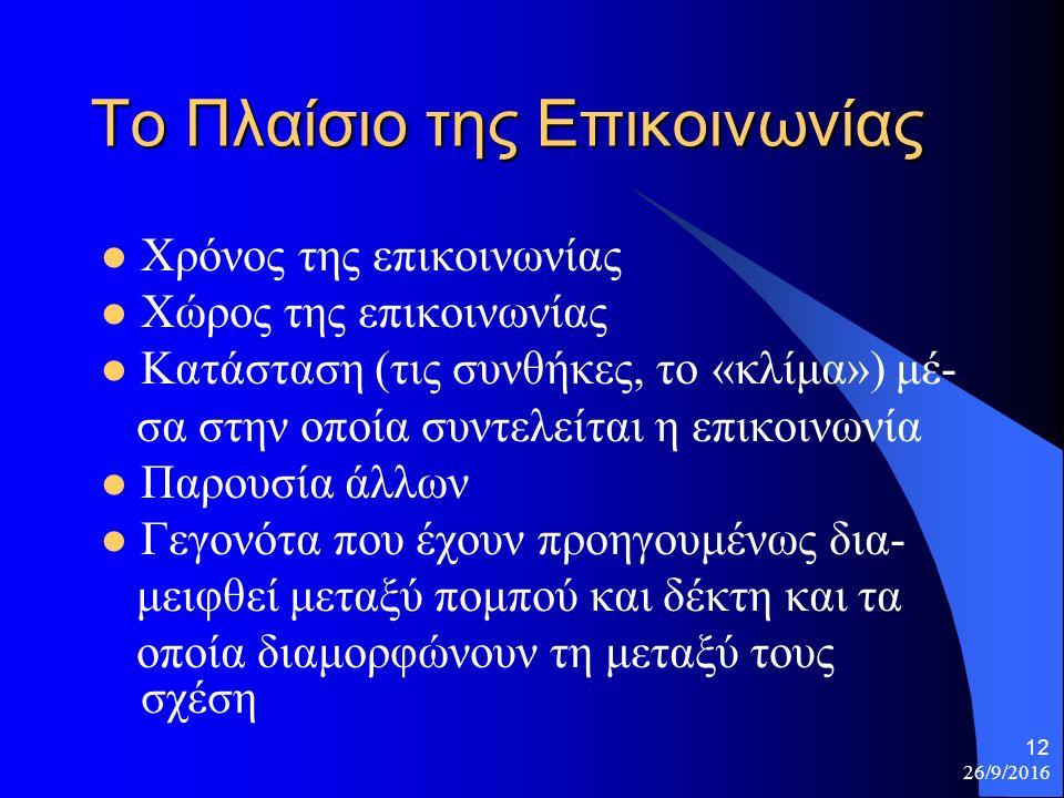 26/9/2016 12 Το Πλαίσιο της Επικοινωνίας Χρόνος της επικοινωνίας Χώρος της επικοινωνίας Κατάσταση (τις συνθήκες, το «κλίμα») μέ- σα στην οποία συντελείται η επικοινωνία Παρουσία άλλων Γεγονότα που έχουν προηγουμένως δια- μειφθεί μεταξύ πομπού και δέκτη και τα οποία διαμορφώνουν τη μεταξύ τους σχέση