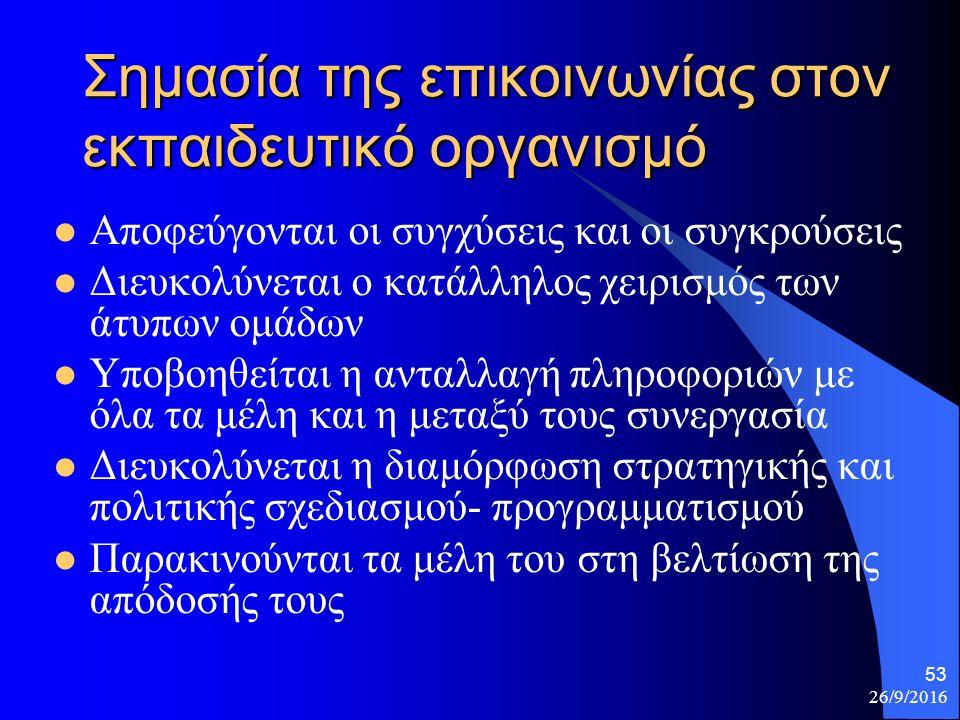26/9/2016 53 Σημασία της επικοινωνίας στον εκπαιδευτικό οργανισμό Αποφεύγονται οι συγχύσεις και οι συγκρούσεις Διευκολύνεται ο κατάλληλος χειρισμός των άτυπων ομάδων Υποβοηθείται η ανταλλαγή πληροφοριών με όλα τα μέλη και η μεταξύ τους συνεργασία Διευκολύνεται η διαμόρφωση στρατηγικής και πολιτικής σχεδιασμού- προγραμματισμού Παρακινούνται τα μέλη του στη βελτίωση της απόδοσής τους