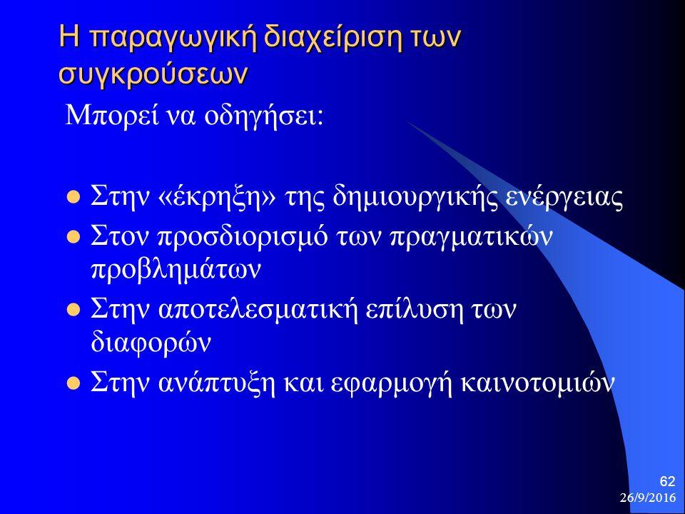 26/9/2016 62 Η παραγωγική διαχείριση των συγκρούσεων Μπορεί να οδηγήσει: Στην «έκρηξη» της δημιουργικής ενέργειας Στον προσδιορισμό των πραγματικών προβλημάτων Στην αποτελεσματική επίλυση των διαφορών Στην ανάπτυξη και εφαρμογή καινοτομιών