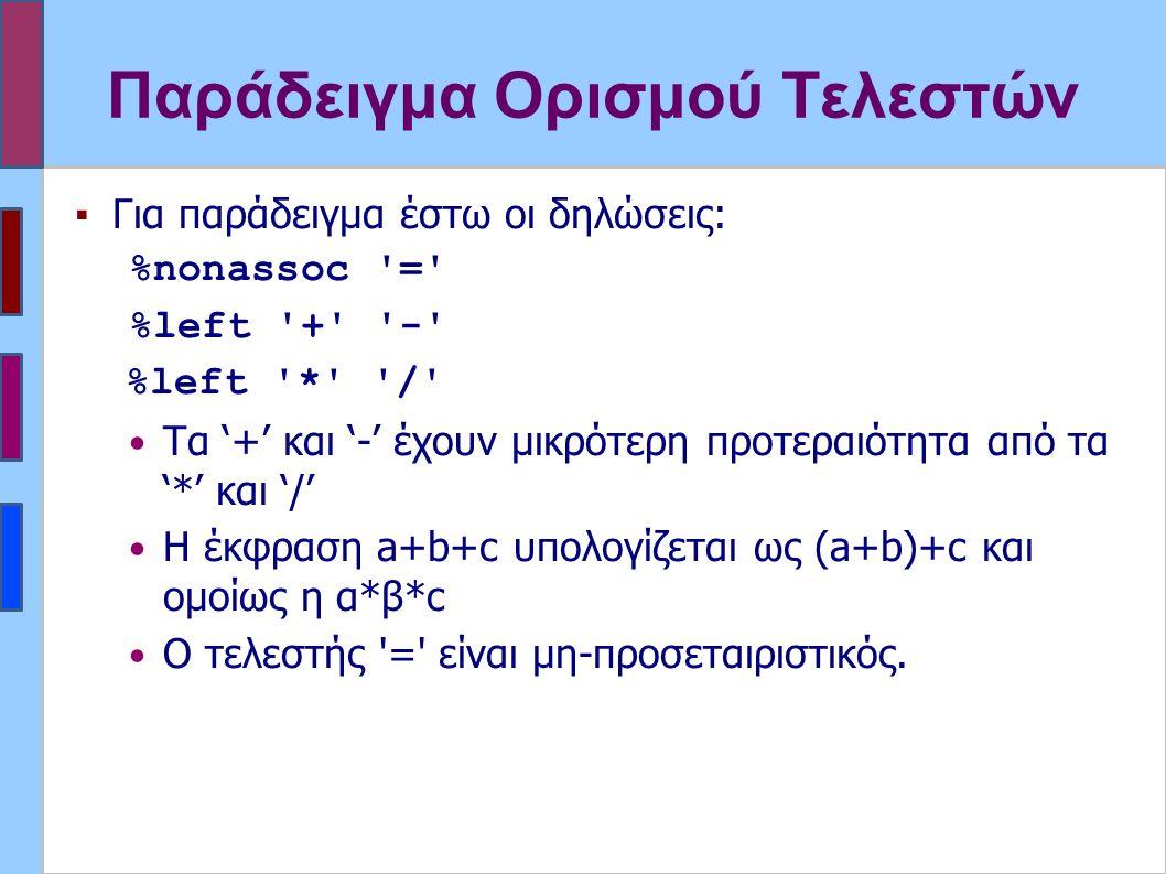 Παράδειγμα Ορισμού Τελεστών ▪Για παράδειγμα έστω οι δηλώσεις: %nonassoc = %left + - %left * / Τα '+' και '-' έχουν μικρότερη προτεραιότητα από τα '*' και '/' Η έκφραση a+b+c υπολογίζεται ως (a+b)+c και ομοίως η α*β*c Ο τελεστής = είναι μη-προσεταιριστικός.