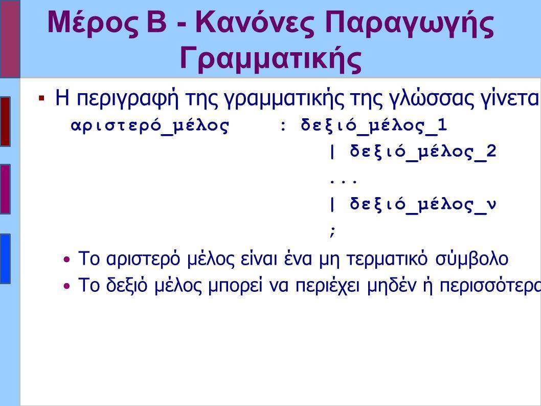 Μέρος Β - Κανόνες Παραγωγής Γραμματικής ▪Η περιγραφή της γραμματικής της γλώσσας γίνεται με κανόνες παραγωγής διατυπωμένους σε BNF γενική μορφή: αριστερό_μέλος: δεξιό_μέλος_1 | δεξιό_μέλος_2...