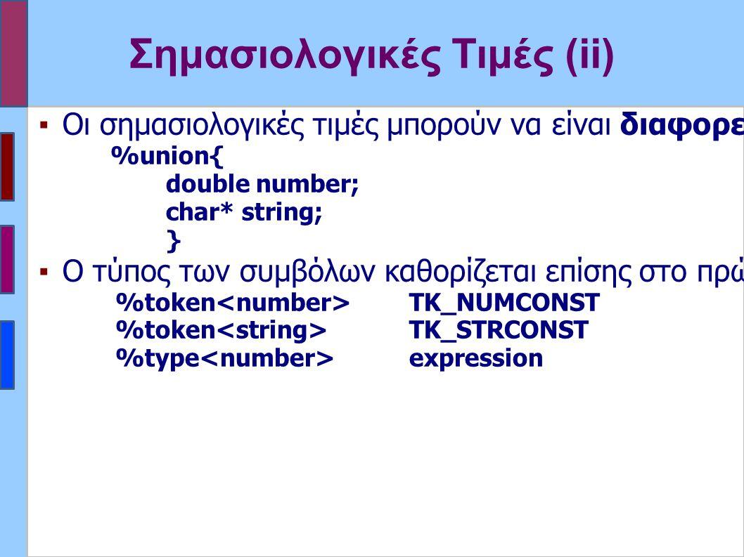 Σημασιολογικές Τιμές (ii) ▪Οι σημασιολογικές τιμές μπορούν να είναι διαφορετικού τύπου για διαφορετικά σύμβολα.