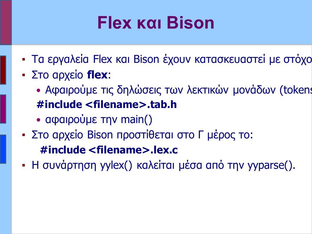 Flex και Bison ▪Τα εργαλεία Flex και Bison έχουν κατασκευαστεί με στόχο να συνεργάζονται.