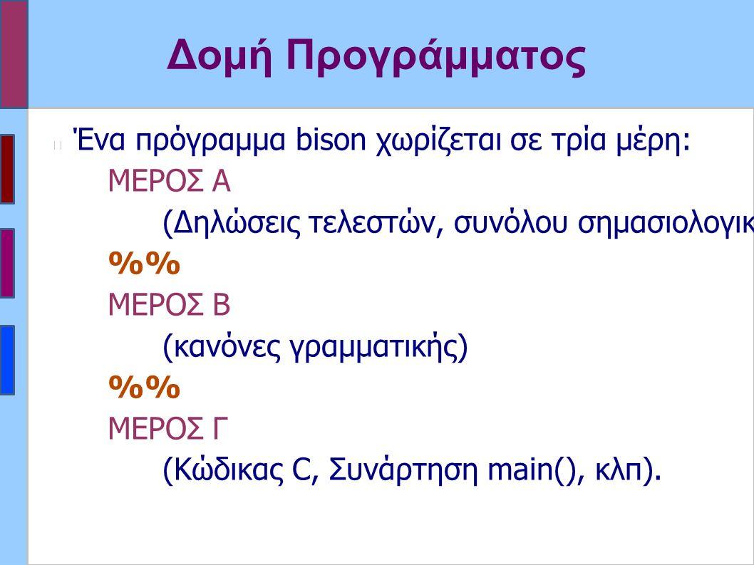 Δομή Προγράμματος Ένα πρόγραμμα bison χωρίζεται σε τρία μέρη: MΕΡΟΣ Α (Δηλώσεις τελεστών, συνόλου σημασιολογικών τιμών, κώδικας C, κλπ) % MΕΡΟΣ Β (κανόνες γραμματικής) % MΕΡΟΣ Γ (Κώδικας C, Συνάρτηση main(), κλπ).