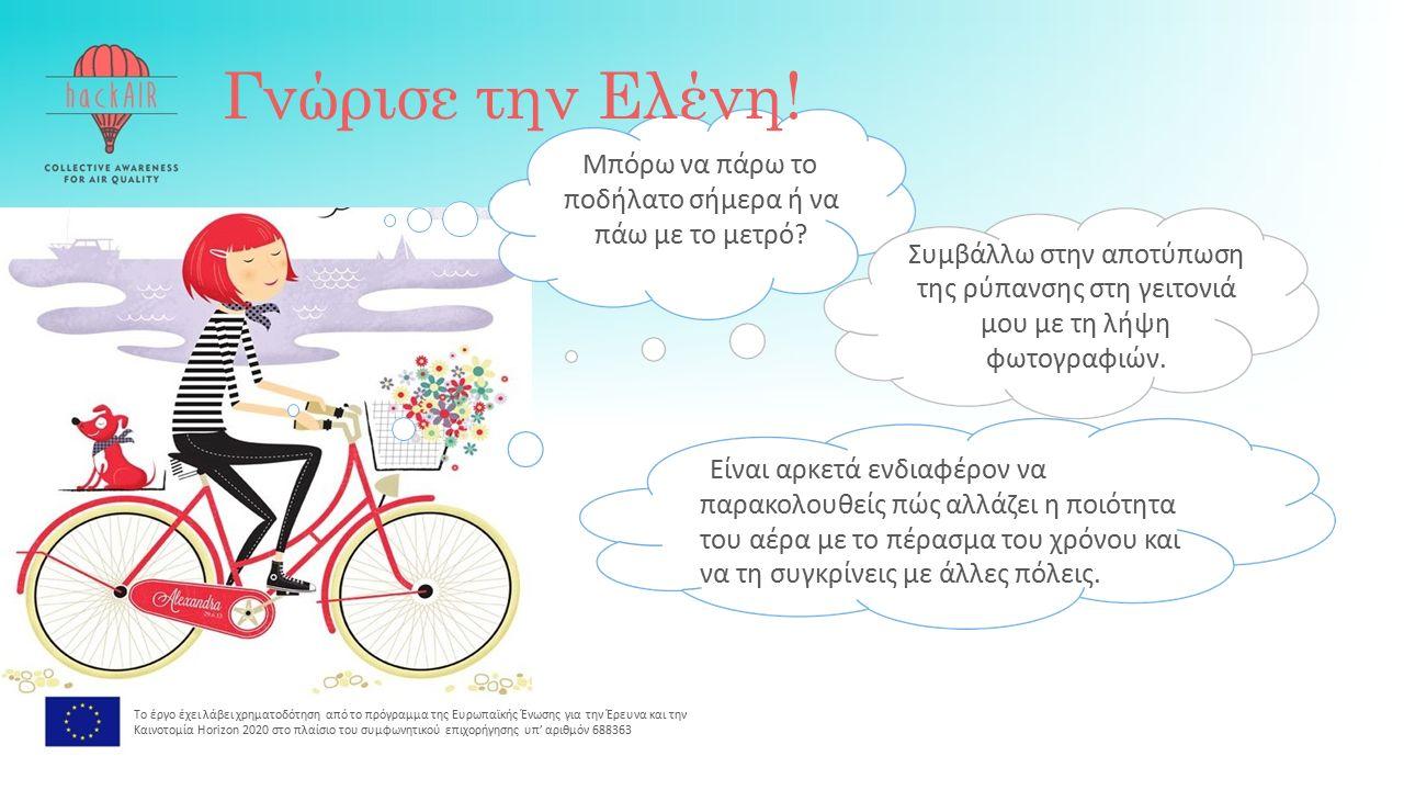 Γνώρισε την Ελένη. Μπόρω να πάρω το ποδήλατο σήμερα ή να πάω με το μετρό.