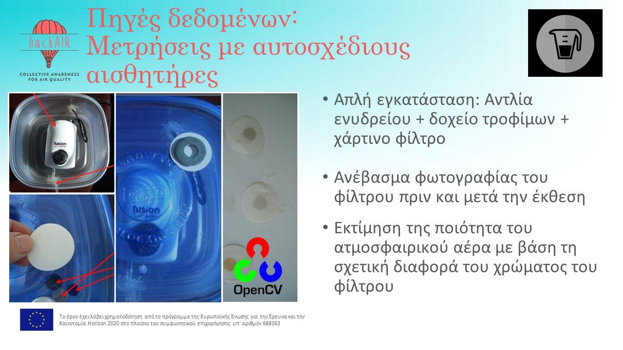 Πηγές δεδομένων: Μετρήσεις με αυτοσχέδιους αισθητήρες Απλή εγκατάσταση: Αντλία ενυδρείου + δοχείο τροφίμων + χάρτινο φίλτρο Ανέβασμα φωτογραφίας του φίλτρου πριν και μετά την έκθεση Εκτίμηση της ποιότητα του ατμοσφαιρικού αέρα με βάση τη σχετική διαφορά του χρώματος του φίλτρου Το έργο έχει λάβει χρηματοδότηση από το πρόγραμμα της Ευρωπαϊκής Ένωσης για την Έρευνα και την Καινοτομία Horizon 2020 στο πλαίσιο του συμφωνητικού επιχορήγησης υπ' αριθμόν 688363