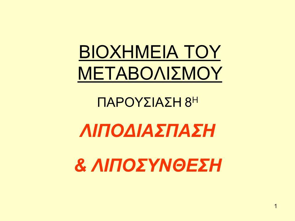 12 ΚΑΤΑΒΟΛΙΣΜΟΣ ΛΙΠΑΡΩΝ ΟΞΕΩΝ Στη συνέχεια, το ακετο-ακετυλο-CoA δίνει: Δύο μόρια ακετυλο-CoA ή Κετονικά σώματα ή δια μέσου του β-υδροξυ-β-μεθυλογλουταρυλο- CοA, δίνει χοληστερόλη, στεροειδή κ.λπ.
