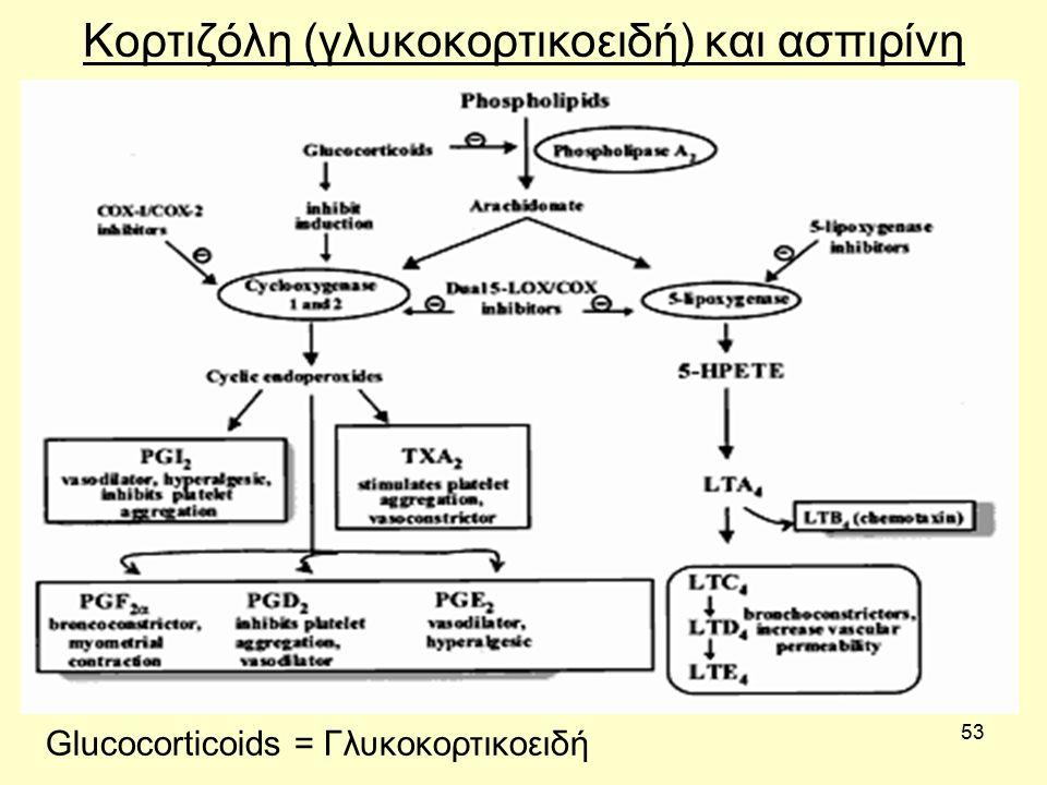 53 Κορτιζόλη (γλυκοκορτικοειδή) και ασπιρίνη Glucocorticoids = Γλυκοκορτικοειδή