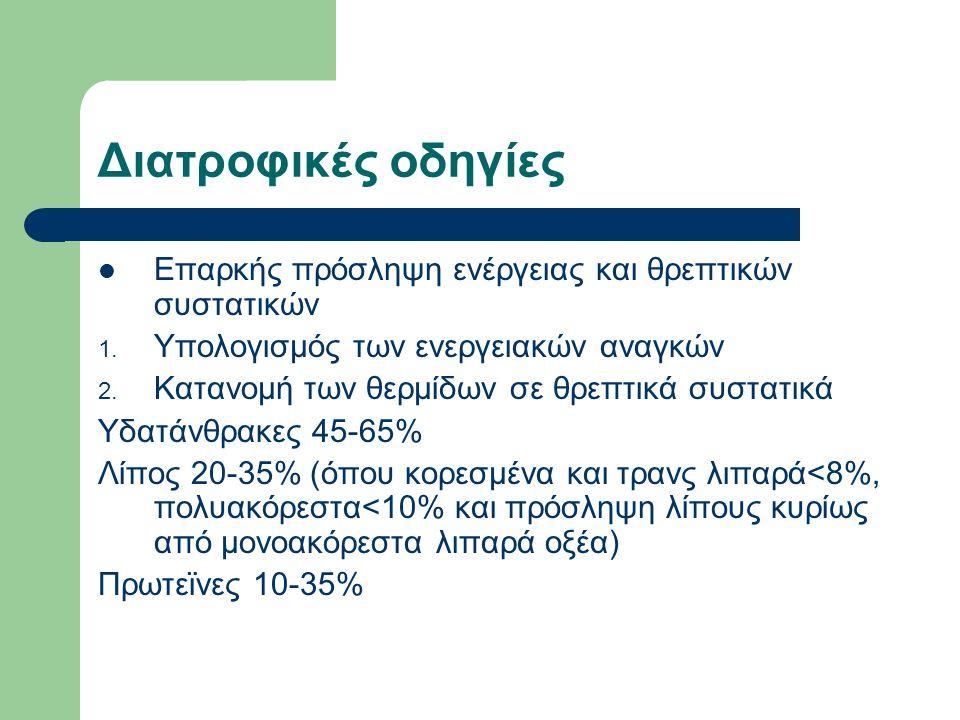 Διατροφικές οδηγίες Επαρκής πρόσληψη ενέργειας και θρεπτικών συστατικών 1.