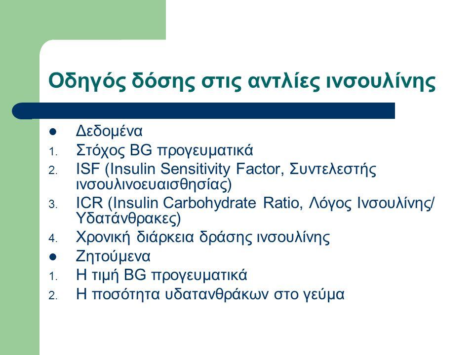 Οδηγός δόσης στις αντλίες ινσουλίνης Δεδομένα 1. Στόχος BG προγευματικά 2.