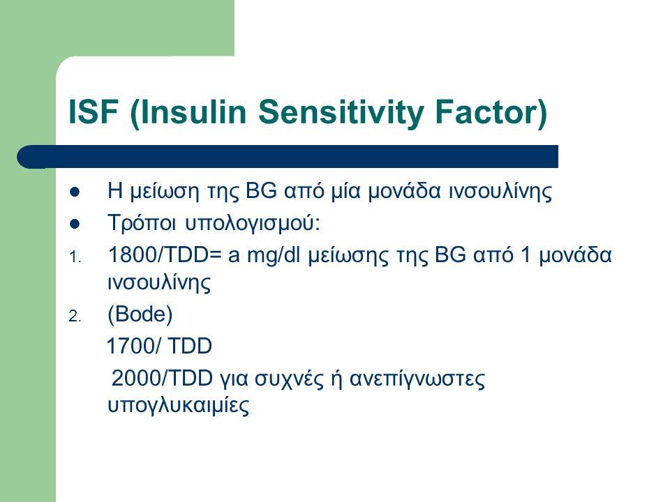 ISF (Insulin Sensitivity Factor) Η μείωση της BG από μία μονάδα ινσουλίνης Τρόποι υπολογισμού: 1.