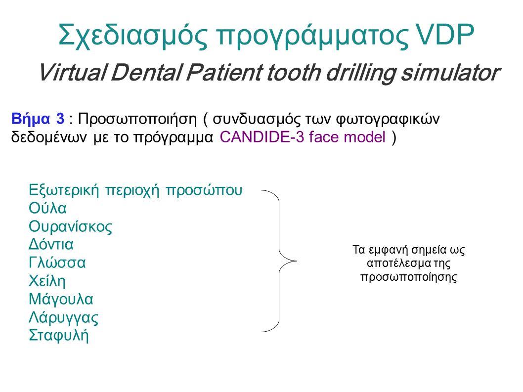 Βήμα 3 : Προσωποποιήση ( συνδυασμός των φωτογραφικών δεδομένων με το πρόγραμμα CANDIDE-3 face model ) Εξωτερική περιοχή προσώπου Ούλα Ουρανίσκος Δόντια Γλώσσα Χείλη Μάγουλα Λάρυγγας Σταφυλή Σχεδιασμός προγράμματος VDP Virtual Dental Patient tooth drilling simulator Τα εμφανή σημεία ως αποτέλεσμα της προσωποποίησης