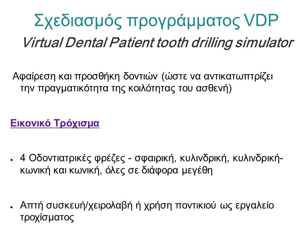 Σχεδιασμός προγράμματος VDP Virtual Dental Patient tooth drilling simulator Αφαίρεση και προσθήκη δοντιών (ώστε να αντικατωπτρίζει την πραγματικότητα της κοιλότητας του ασθενή) Εικονικό Τρόχισμα ● 4 Οδοντιατρικές φρέζες - σφαιρική, κυλινδρική, κυλινδρική- κωνική και κωνική, όλες σε διάφορα μεγέθη ● Απτή συσκευή/χειρολαβή ή χρήση ποντικιού ως εργαλείο τροχίσματος