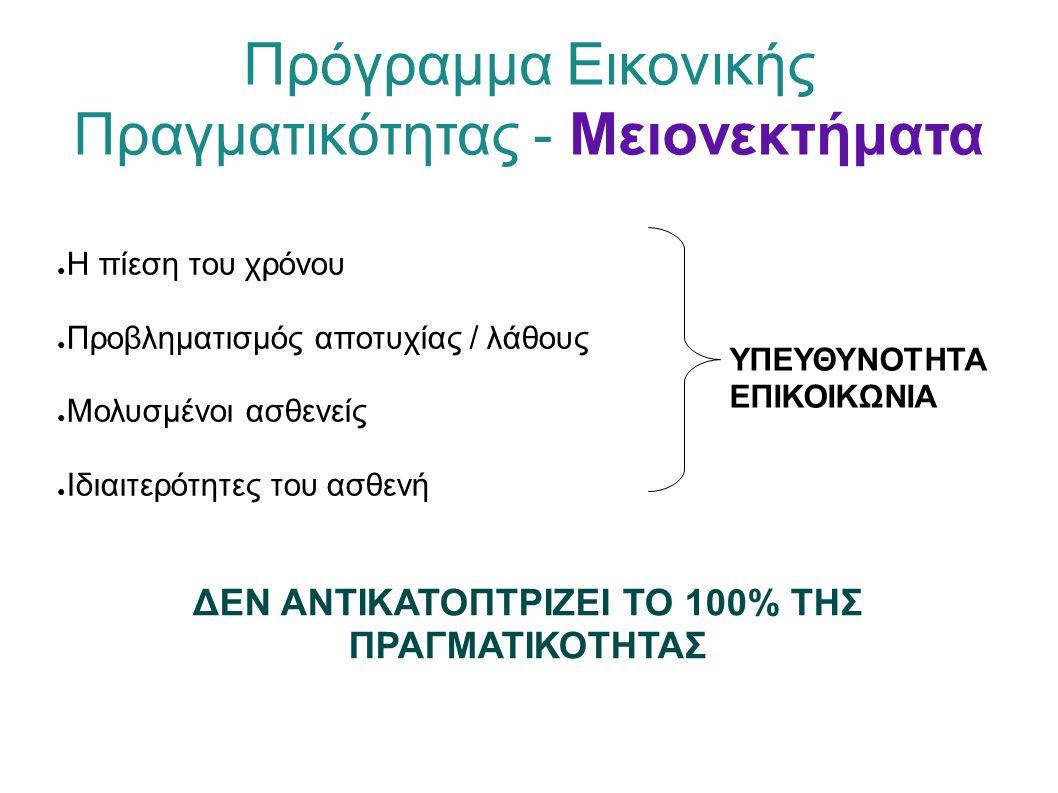 Πρόγραμμα Εικονικής Πραγματικότητας - Μειονεκτήματα ● Η πίεση του χρόνου ● Προβληματισμός αποτυχίας / λάθους ● Μολυσμένοι ασθενείς ● Ιδιαιτερότητες του ασθενή ΥΠΕΥΘΥΝΟΤΗΤΑ ΕΠΙΚΟΙΚΩΝΙΑ ΔΕΝ ΑΝΤΙΚΑΤΟΠΤΡΙΖΕΙ ΤΟ 100% ΤΗΣ ΠΡΑΓΜΑΤΙΚΟΤΗΤΑΣ