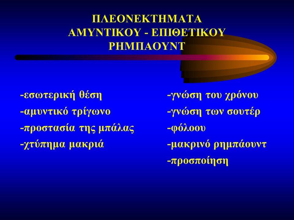 ΠΛΕΟΝΕΚΤΗΜΑΤΑ ΑΜΥΝΤΙΚΟΥ - ΕΠΙΘΕΤΙΚΟΥ ΡΗΜΠΑΟΥΝΤ -εσωτερική θέση-γνώση του χρόνου -αμυντικό τρίγωνο-γνώση των σουτέρ -προστασία της μπάλας-φόλοου -χτύπημα μακριά-μακρινό ρημπάουντ -προσποίηση