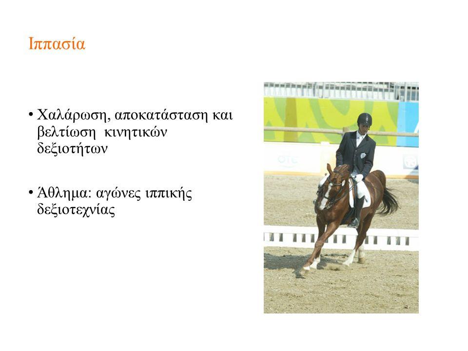 Ιππασία Χαλάρωση, αποκατάσταση και βελτίωση κινητικών δεξιοτήτων Άθλημα: αγώνες ιππικής δεξιοτεχνίας