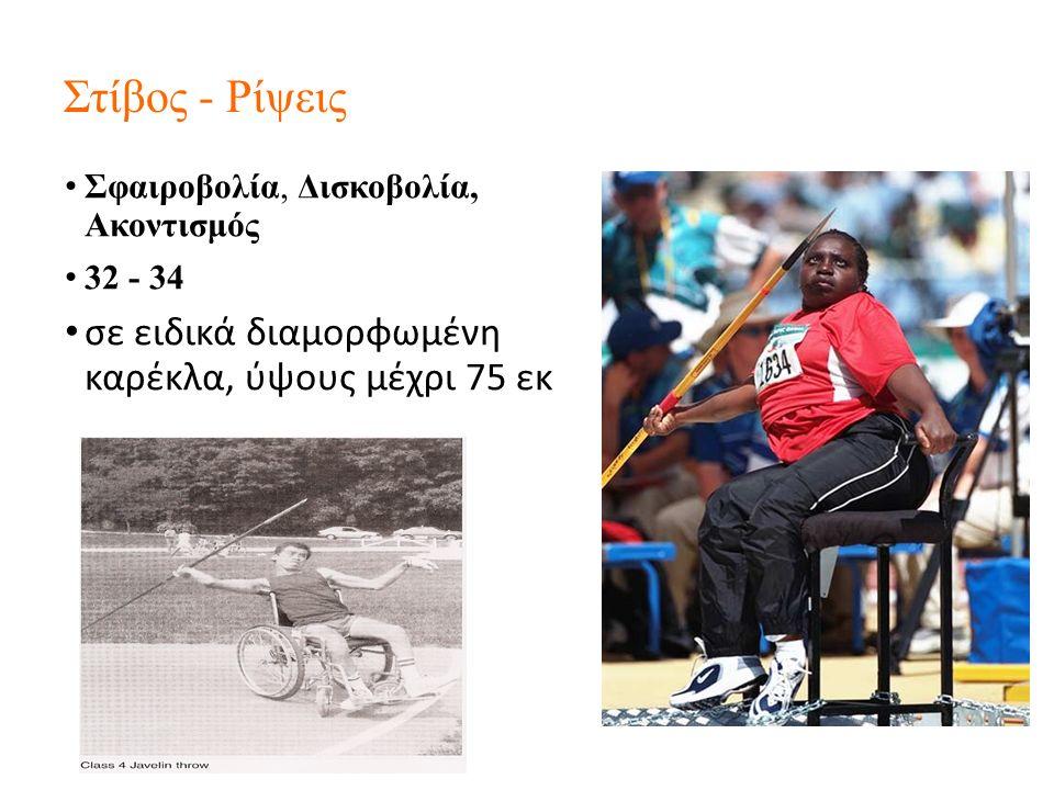 Στίβος - Ρίψεις Σφαιροβολία, Δισκοβολία, Ακοντισμός 32 - 34 σε ειδικά διαμορφωμένη καρέκλα, ύψους μέχρι 75 εκ