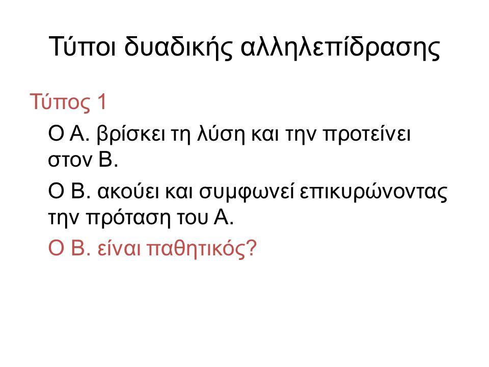 Τύποι δυαδικής αλληλεπίδρασης Τύπος 1 Ο Α. βρίσκει τη λύση και την προτείνει στον Β.