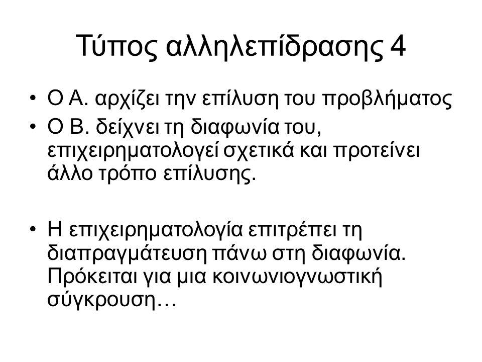 Τύπος αλληλεπίδρασης 4 Ο Α. αρχίζει την επίλυση του προβλήματος Ο Β.