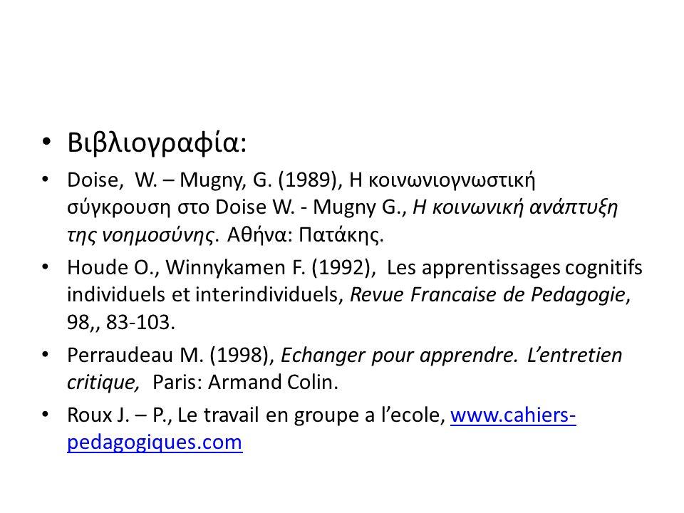 Βιβλιογραφία: Doise, W. – Mugny, G. (1989), Η κοινωνιογνωστική σύγκρουση στο Doise W.