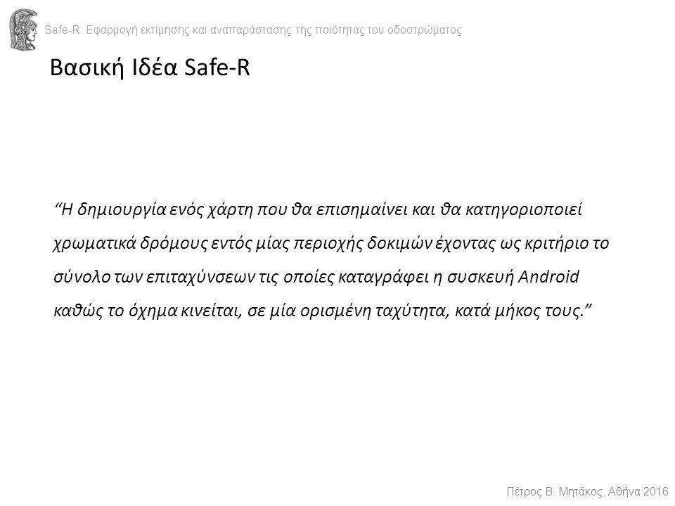 Βασική Ιδέα Safe-R Safe-R: Εφαρμογή εκτίμησης και αναπαράστασης της ποιότητας του οδοστρώματος Πέτρος Β.