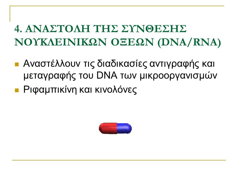 4. ΑΝΑΣΤΟΛΗ ΤΗΣ ΣΥΝΘΕΣΗΣ ΝΟΥΚΛΕΙΝΙΚΩΝ ΟΞΕΩΝ (DNA/RNA) Αναστέλλουν τις διαδικασίες αντιγραφής και μεταγραφής του DNA των μικροοργανισμών Ριφαμπικίνη κα