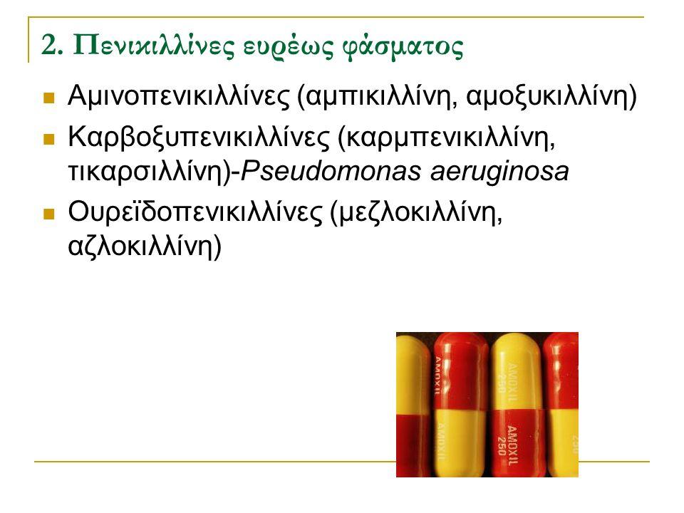 2. Πενικιλλίνες ευρέως φάσματος Αμινοπενικιλλίνες (αμπικιλλίνη, αμοξυκιλλίνη) Καρβοξυπενικιλλίνες (καρμπενικιλλίνη, τικαρσιλλίνη)-Pseudomonas aerugino