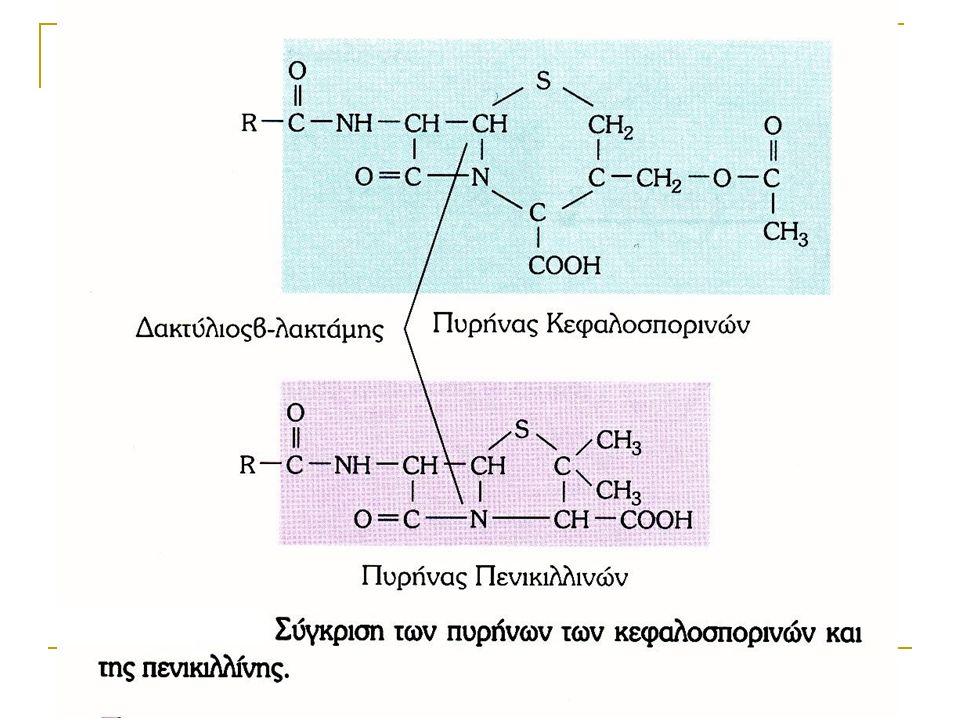 ΠΟΛΥΠΕΠΤΙΔΙΚΑ ΑΝΤΙΒΙΟΤΙΚΑ Αναστέλλουν τη σύνθεση του κυτταρικού τοιχώματος κυρίως των Gram-θετικά βακτηριών  Βακιτρακίνη (τοπική εφαρμογή σε επιφανειακές λοιμώξεις)  Βανκομυκίνη (MRSA-ανθεκτικών στη βανκομυκίνη εντεροκόκκων VRE-Vancomycin Resistant Enterococcus)-ενδονοσοκομειακών λοιμώξεων