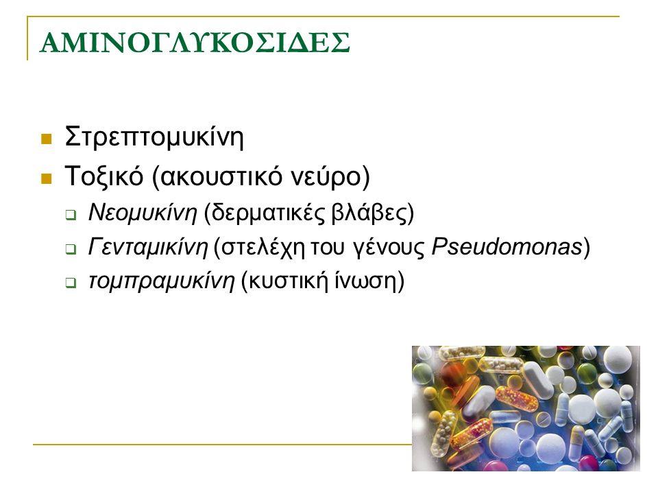 Χημικές δομές αμινογλυκοσιδών Streptomycin Garamycin ® Nebcin ® Briklin ®