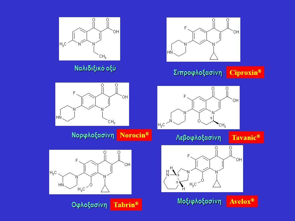 Οφλοξασίνη Σιπροφλοξασίνη Ναλιδιξικό οξύ Νορφλοξασίνη Λεβοφλοξασίνη Μοξιφλοξασίνη Ciproxin ® Norocin ® Tavanic ® Avelox ® Tabrin ®