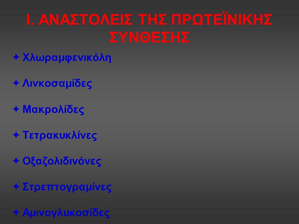 Ι. ΑΝΑΣΤΟΛΕΙΣ ΤΗΣ ΠΡΩΤΕΪΝΙΚΗΣ ΣΥΝΘΕΣΗΣ  Χλωραμφενικόλη  Λινκοσαμίδες  Μακρολίδες  Τετρακυκλίνες  Οξαζολιδινόνες  Στρεπτογραμίνες  Αμινογλυκοσίδ