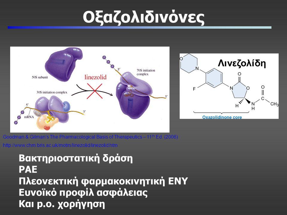 Οξαζολιδινόνες Λινεζολίδη Goodman & Gilman's The Pharmacological Basis of Therapeutics – 11 th Ed. (2006) http://www.chm.bris.ac.uk/motm/linezolid/lin