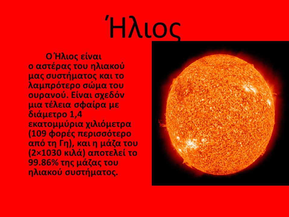 Ήλιος Ο Ήλιος είναι ο αστέρας του ηλιακού μας συστήματος και το λαμπρότερο σώμα του ουρανού. Είναι σχεδόν μια τέλεια σφαίρα με διάμετρο 1,4 εκατομμύρι