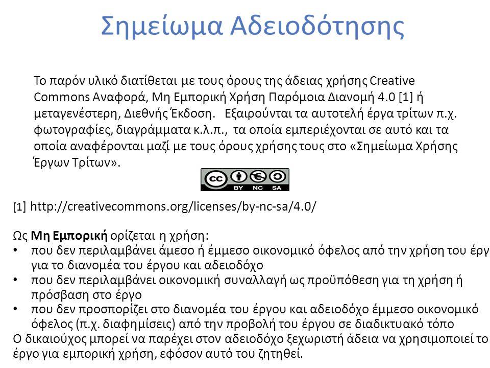 Το παρόν υλικό διατίθεται με τους όρους της άδειας χρήσης Creative Commons Αναφορά, Μη Εμπορική Χρήση Παρόμοια Διανομή 4.0 [1] ή μεταγενέστερη, Διεθνή