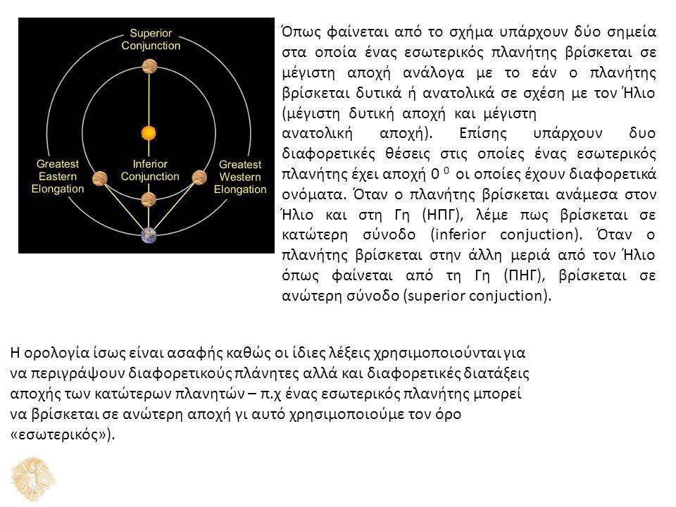 Όπως φαίνεται από το σχήμα υπάρχουν δύο σημεία στα οποία ένας εσωτερικός πλανήτης βρίσκεται σε μέγιστη αποχή ανάλογα με το εάν ο πλανήτης βρίσκεται δυτικά ή ανατολικά σε σχέση με τον Ήλιο (μέγιστη δυτική αποχή και μέγιστη ανατολική αποχή).