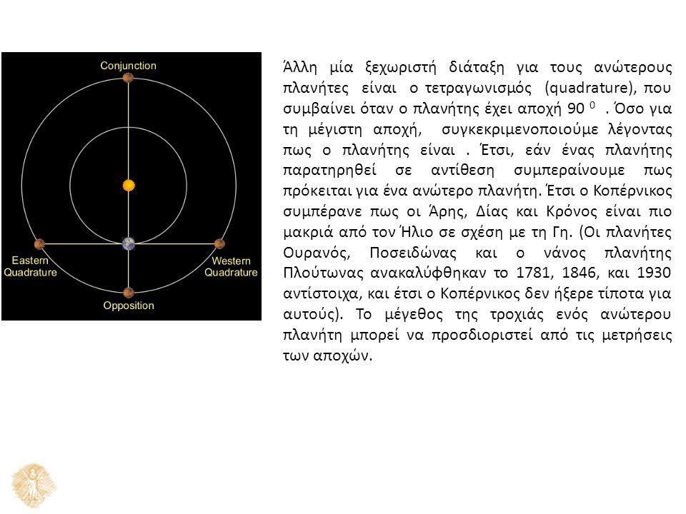 Άλλη μία ξεχωριστή διάταξη για τους ανώτερους πλανήτες είναι ο τετραγωνισμός (quadrature), που συμβαίνει όταν ο πλανήτης έχει αποχή 90 0. Όσο για τη μ