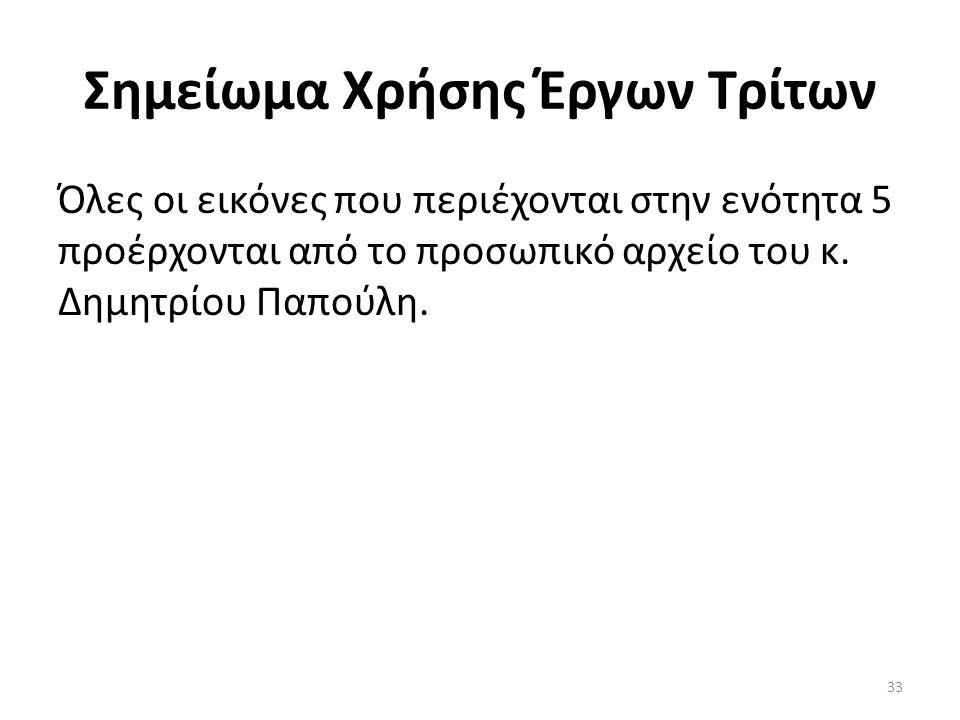 Σημείωμα Χρήσης Έργων Τρίτων Όλες οι εικόνες που περιέχονται στην ενότητα 5 προέρχονται από το προσωπικό αρχείο του κ. Δημητρίου Παπούλη. 33