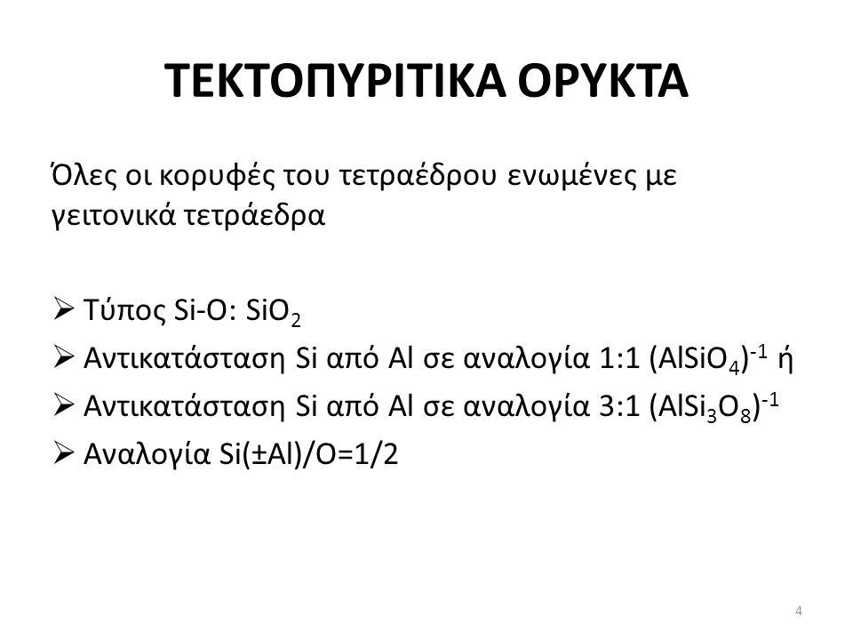 ΤΕΚΤΟΠΥΡΙΤΙΚΑ ΟΡΥΚΤΑ Όλες οι κορυφές του τετραέδρου ενωμένες με γειτονικά τετράεδρα  Τύπος Si-O: SiO 2  Αντικατάσταση Si από Al σε αναλογία 1:1 (AlSiO 4 ) -1 ή  Αντικατάσταση Si από Al σε αναλογία 3:1 (AlSi 3 O 8 ) -1  Αναλογία Si(±Al)/O=1/2 4
